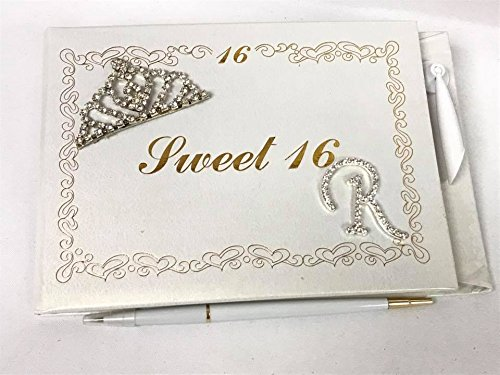 Magnet Sweet 16 (Sweet 16 Guest Book with Tiara Decoration Monogram Letter R Signature Book)