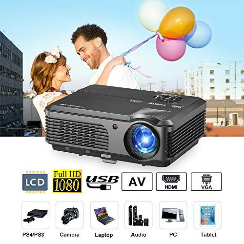 - Home Theater Video Projector WXGA 4400 Lumen LCD TV HD Multimedia HDMI Projectors Support 1080P LED 50,000hrs Lamp, USB RCA Audio VGA Zoom Keystone Compatible with PS4 Wii Xbox Laptop PC DVD Camera