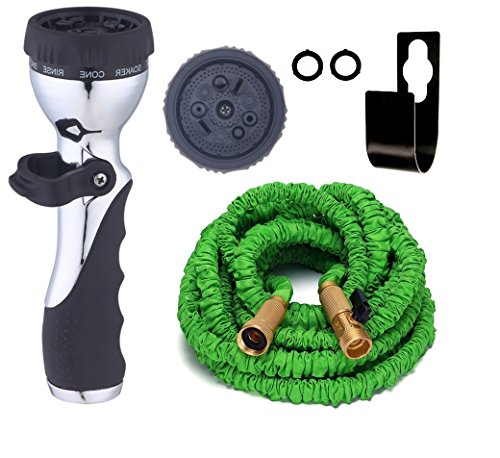 Expandable Garden Hose [BONUS] FREE 9 Pattern HIGH Pressure Metal Sprayer AUTOMATIC FIRE Nozzle for Car or Windows. Brass Connectors, Shutoff Valve, 3 Layer Latex, Metal Hook Hanger Holder. (50 Feet)