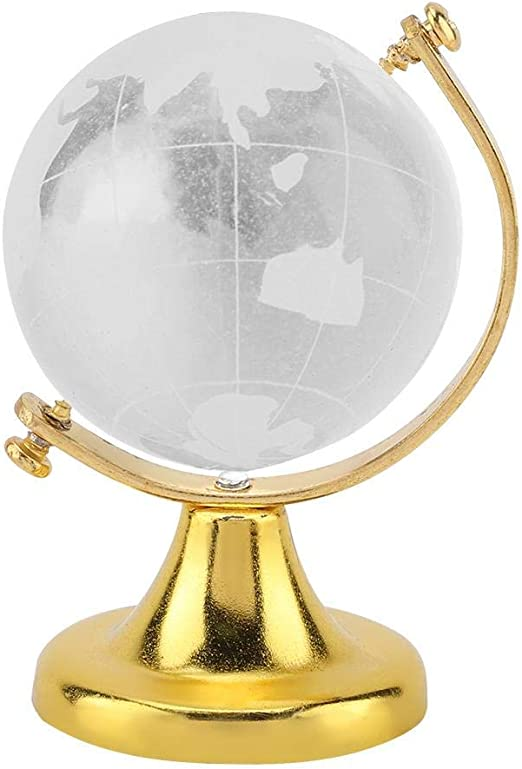 Round Earth Globe World Map Crystal Glass Clear Paperweight Table Desk Decor