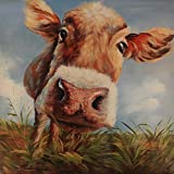 ArtMaison.ca Gallery Wrapped 40-Inch by 40-Inch Hand Painted Acrylic on Canvas, Tina O., Cow in Field