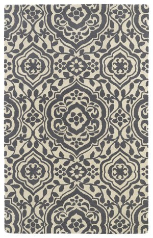 Bombay Home 8' x 11' Rectangular Kaleen Area Rug EVL04-75-811 Charcoal/Ivory Color Hand Tufted in India Evolution Collection Geometric Pattern