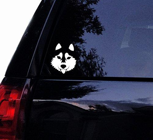 (Tshirt Rocket Cute Siberian Husky Face Decal - Vinyl Car Decal, Laptop Decal, Car Window Wall Sticker (5