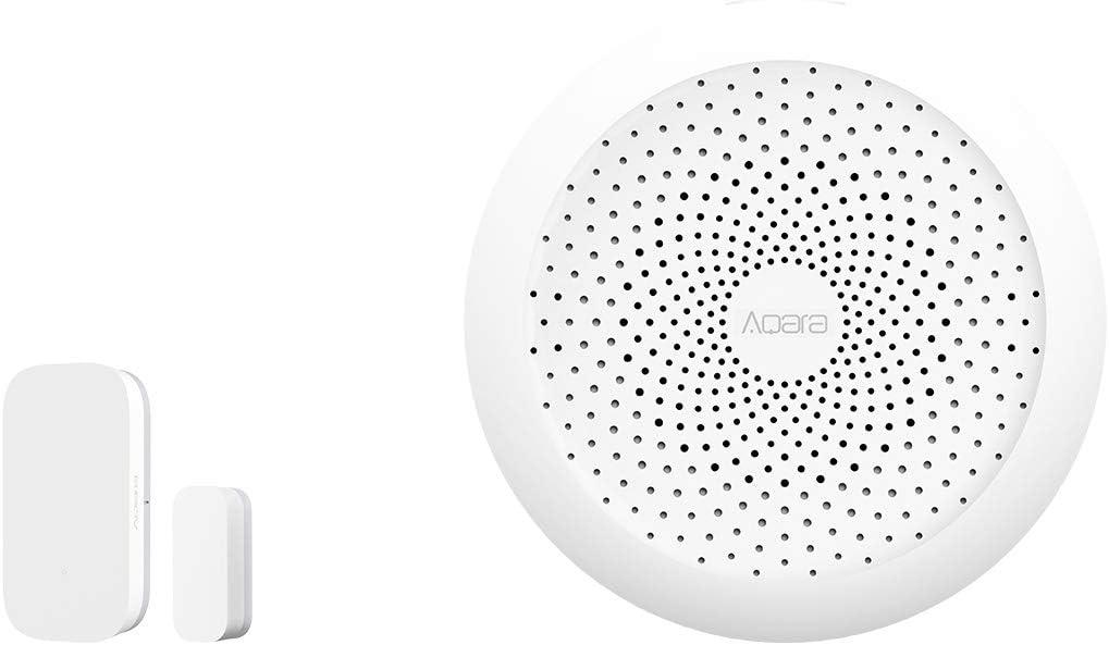 Aqara Door and Window Sensor plus Hub, REQUIRES AQARA HUB, Zigbee Connection, Wireless Mini Contact Sensor for Alarm System and Smart Home Automation, Compatible with Apple HomeKit, Alexa