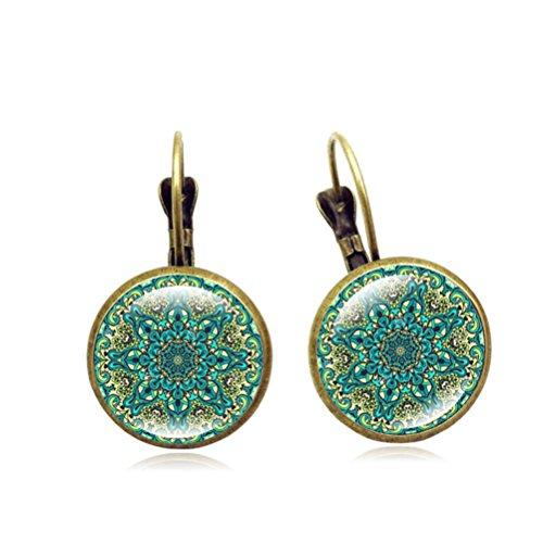 """Retro Green Flower Dangle Earrings """"Magic Eyes"""" Kaleidoscope Birthday Gift For Women Mother Girl"""