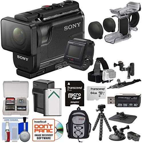 Sony Action Cam HDR-AS50R Wi-Fi HD Video Camera Camcorder Remote Finger Grip Action Mounts 64GB Card Battery Charger Backpack Tripod Kit