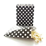 AKOAK 50 Pcs 5 x 7 Inches White Polka Dot Black Paper BagsHoliday Wedding Christmas Favor Candy Treat Bags