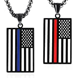 Thin Blue Line and Red Line USA Flag Pendant Necklace, Honoring Law Enforcement Firefighter Flags