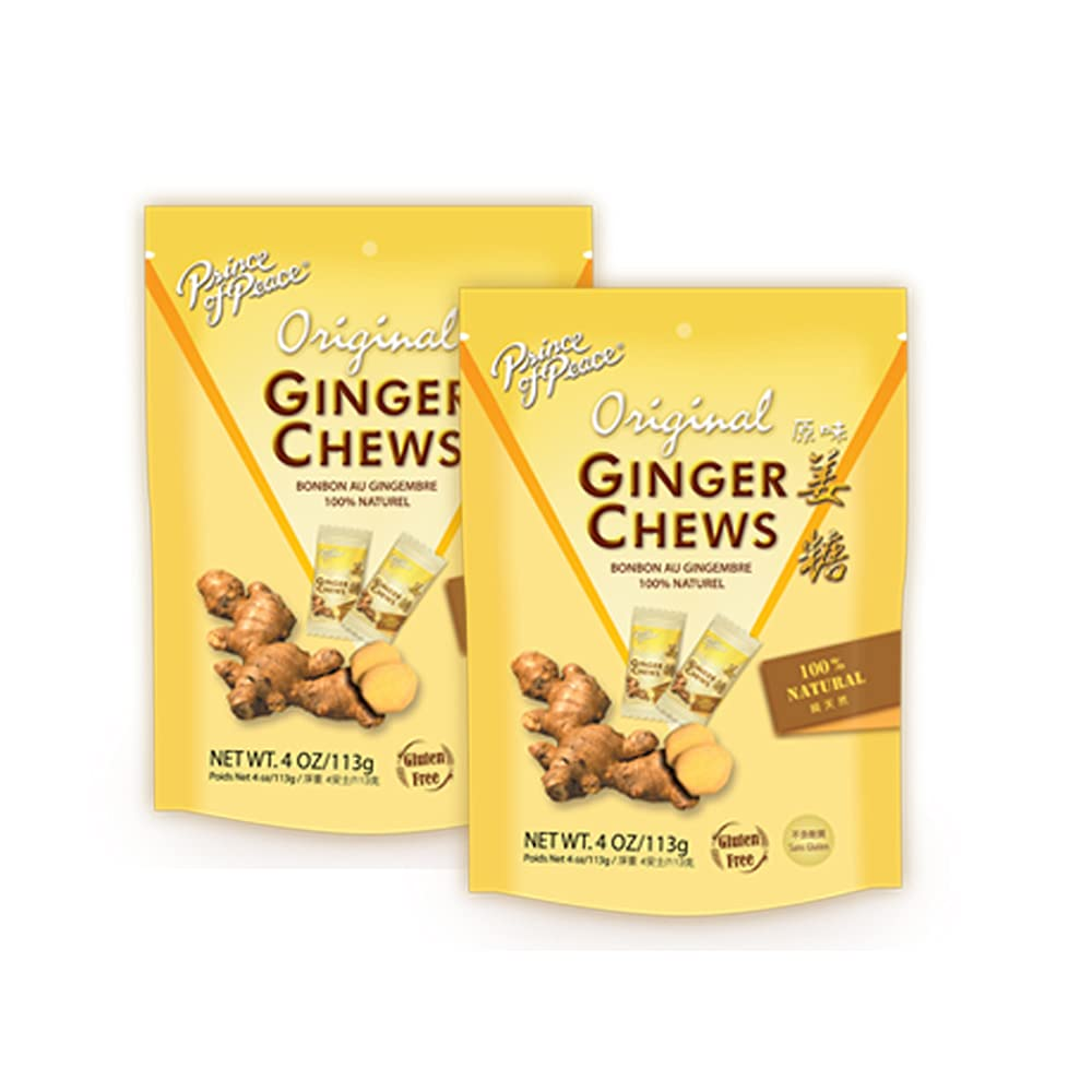 Prince of Peace Original Ginger Chews, 4 oz. – Candied Ginger – Candy Pack – Ginger Chews Candy – Natural Candy – Ginger Candy for Nausea - 2 Pack