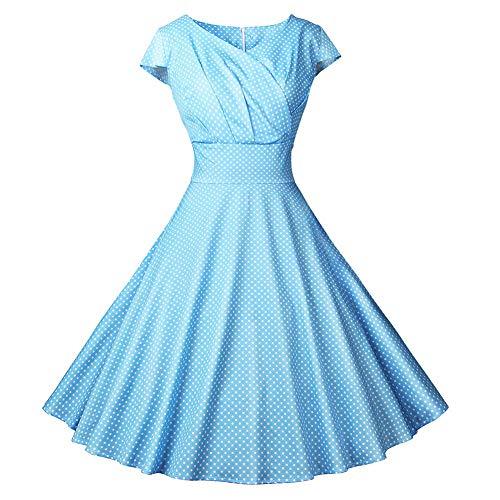 - Jade Hare Women's Sexy V-Neck Wrapped Chest Waisted Vintage Printed Sleeveless Flared Dress (Light Blue, Medium)