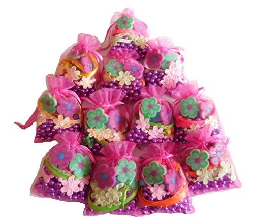 Ladybug Kids Garden Gloves (Alliemoe LLC Kids Birthday Party Favors, Set Of 12 Pre-filled Goodie Bags Including 1 Polyester Flower Lace Bracelet Bracelets, 1 Long Strand of Metallic Purple Beads, 2 Flower Rings and 1 Hair Piece)