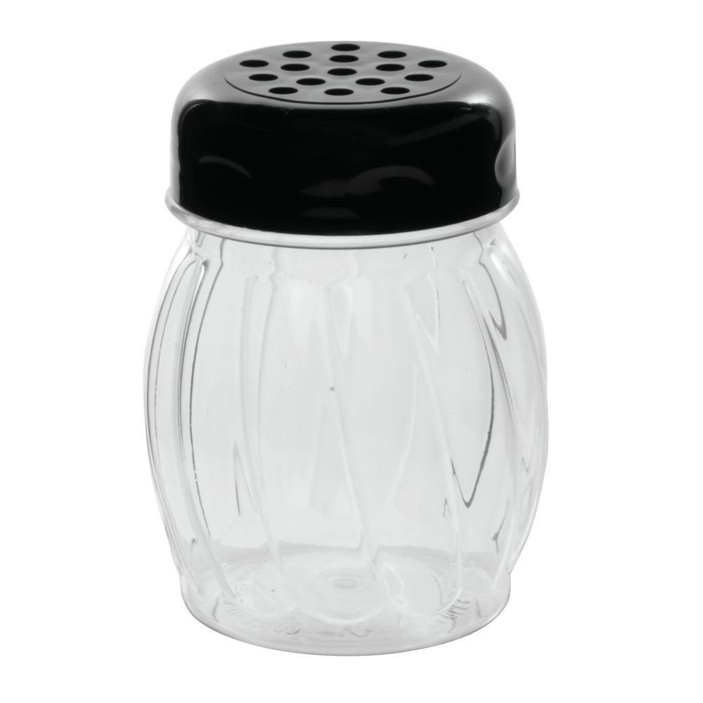 Tablecraft 6 oz Plastic Shaker with Black Plastic Perforated Top