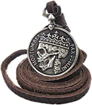ODETOJOY Antique Brzone Leather Skull Necklace for Men Classic Coin Brown Genuine Leather Pendant Necklaces St