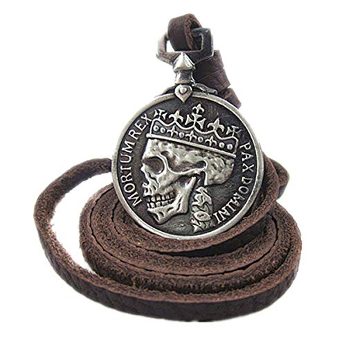 ODETOJOY Classic Coin Brown Genuine Leather Pendant Necklace Skull Steampunk Chunky Pendants Jewelry for Men Choker (Silver)