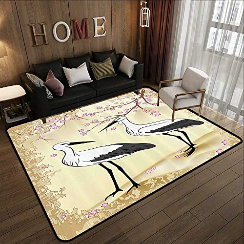 Office Floor mats,Animal,Two Storks Looking at Each Other Cherry Blossoms and Branches Pattern Print,Pink and Sand Brown 55