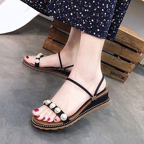 Sandales pais Noir t Chaussures sept Pantoufles Mode Perles Trente Cool Avec Plage Fond Des Kphy Porter Femme Deux wO4xBPxT
