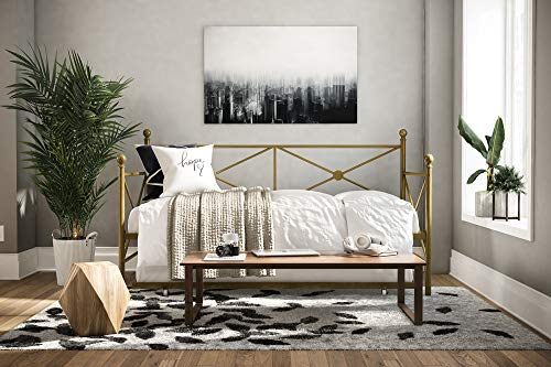 DHP Lina Twin-Size Metal Daybed with Twin-Size Trundle, Gold
