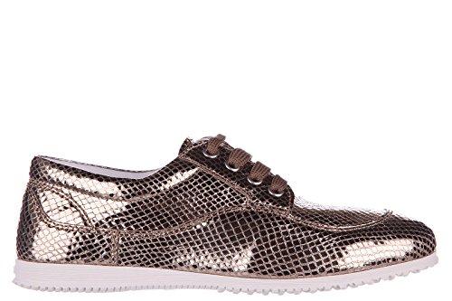 Hogan clásico zapatos de cordones mujer en piel nuevo h258 derby oro