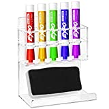 Deluxe Clear Acrylic Wall Mounted 5 Slot Whiteboard Dry Erase Marker and ...