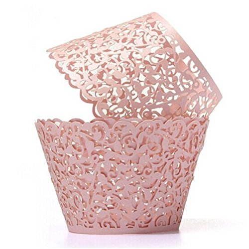 Tinksky Cupcake Wrappers Laser Cut Wrap Case Decor Wedding Shower Wrap 50 Pack (Pink)