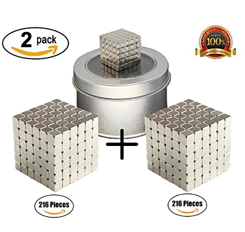 CRFX Magnetic Cube Puzzle - Magic Metal Square Educational Fidget Toy - Prime Quality - Intelligence Development Sculpture Block - Office Desk Stress Relief Toy - (2x216 Pcs)(3mm) (Cube Playing)