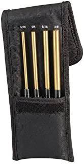 "product image for Starrett SB248Z Extended Length Brass Drive Pin Punch 4-Piece Set, 3/16""-3/8"" Pin Diameters, 8"" Overall Length, 3-1/2"" Pin Length, In Fabric Pouch"