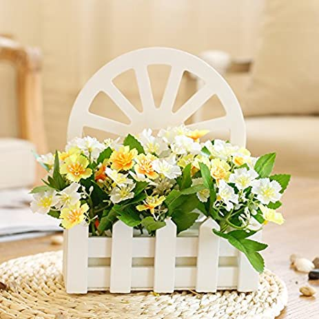 Amazon.com: Artificial flowers Fence Wall Mount Daisy-chained Yellow ...
