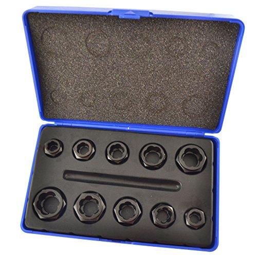 - 10pc Nut Style Bolt Twist Socket / Wheel Lock Nut Remover / Extractor Set AT027