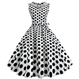 iLUGU O-Neck Sleeveless Knee-Length Dress For Women Dot Print A-Line Prom Dress