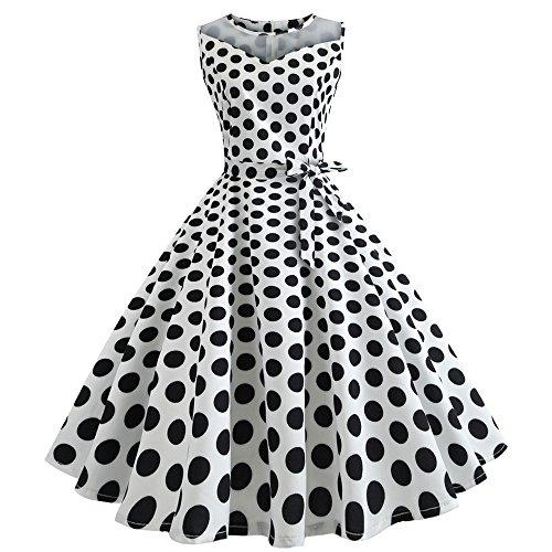 (COPPEN Women Dresses Dot Vintage Africa Sleeveless Mesh Patchwork Evening Party Swing Dress White)