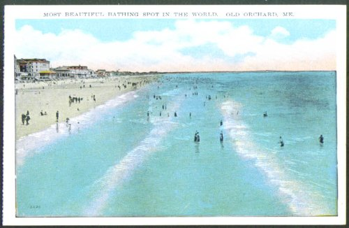 Beach panorama at Old Orchard ME postcard 1910s