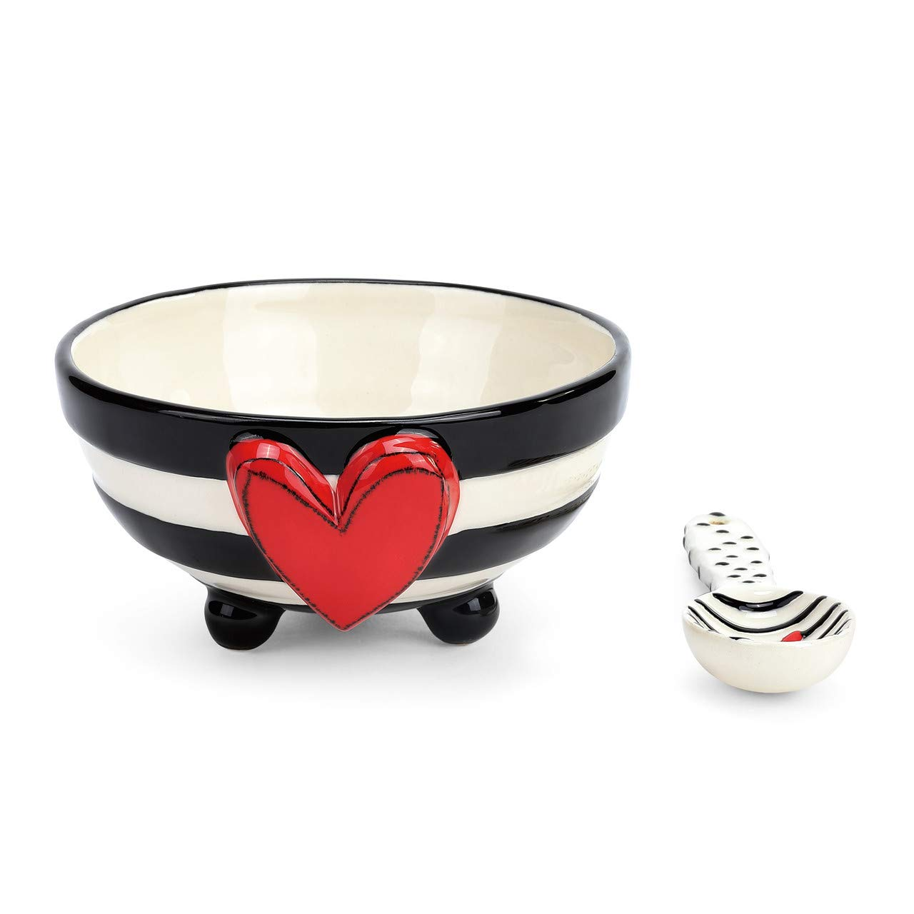 Wide Stripe Black and White Heart 5 x 5 Ceramic Stoneware Candy Bowl With Spoon