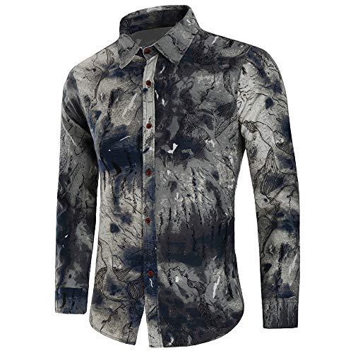 Sottile Camicie Bhydry Uomo Top Casual Da Lunga Nero Blusa Manica Stampata B Moda drrzq