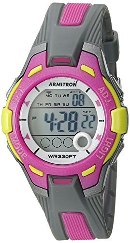Armitron Sport Women's 45/7030GYPK Light Green Accented Digital Grey and Pink Resin Strap Watch