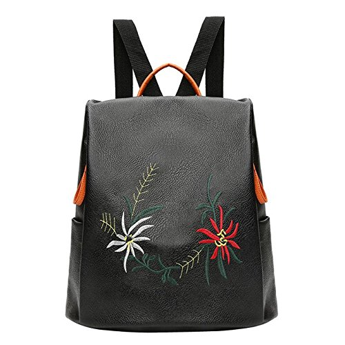 JD Million shop Embroidery Flowers Women Leather Backpacks Female School bags for Girls - Justice Rucksack