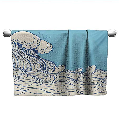 LilyDecorH Nautical,Wash Towels Abstract Doodle Style Wave in The Ocean Sea Soft Color Palette Marine Life Image Eco-Friendly Cream Blue W 28