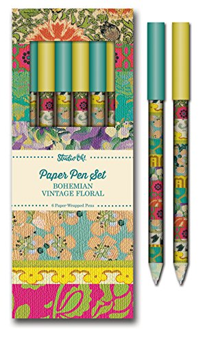 Studio Oh! Bohemian Vintage Floral Paper Pen Set (Box of 6) (Vintage Studio)