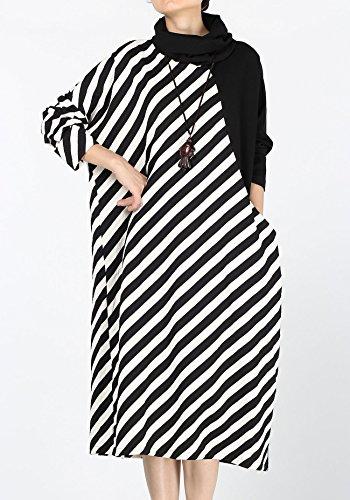 Vogstyle Mujer de la Falda con los Montones Cuello Alto y Bolsillos Grandes Style 2-Black Srtipes