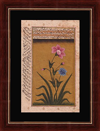 (Splendid Indian Mughal Period Flower 'Musk Mallow (Malva Moschata)' Indian Miniature Painting on Old Handmade Paper with Natural Stone Colours & Gold)