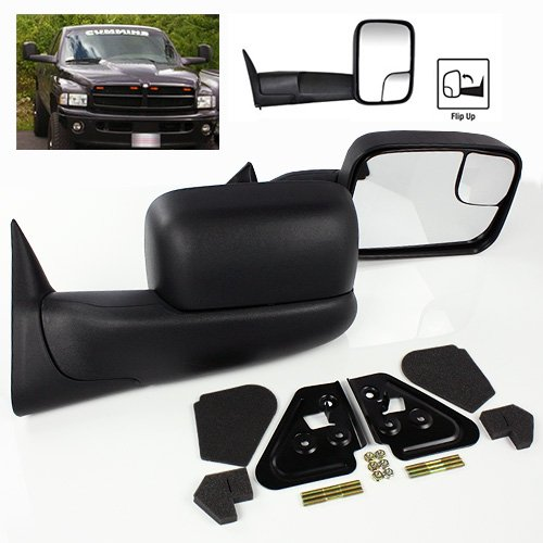 ModifyStreet Power Heated Flip-up Side Towing Mirrors for 1998-2001 Dodge Ram 1500 or 1998-2002 Dodge Ram 2500/3500