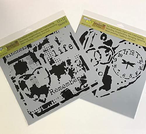 Crafters Workshop Stencil 2 Pack, Reusable Stenciling Templates for Art Journaling, Mixed Media, and Scrapbooking - TCW627 Life Remembered & TCW640 Love to Fly, 12 inch x 12 inch