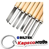 Biltek NEW 8pc Wood Lathe Chisel Set Turning Tools Woodworking Gouge Skew Parting Spear + KapscoMoto Keychain