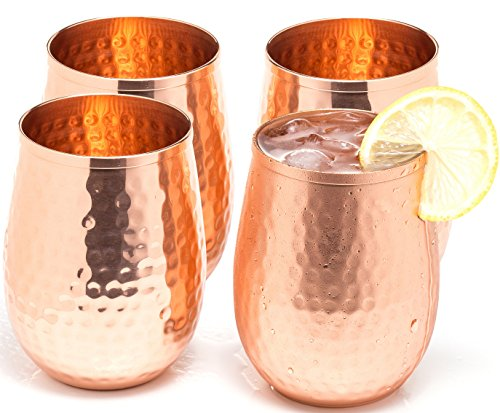 Copper wine glasses set of 4 - 17oz gleaming 100% solid hammered copper stemless wine cups - a perfect gift set for men and women - great copper tumblers for red or white wine and Moscow mules. (Stemless Copper Glasses Hammered Wine)