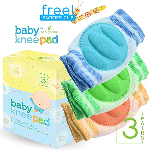 Baby Bathtub Center (Baby Knee Pads for Crawling (3 Pairs) - Adjustable Breathable Waterproof Safety Protector for Babies, Toddlers, Infants, Boys, Girls, Kids)