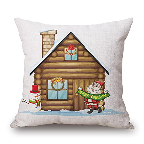 Happy Cool Cotton Linen Square Christmas Decorative Throw Pi