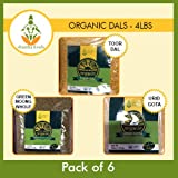 Shastha Organic Dal (Combo Pack of 6) Toor, Green Moong Whole & Urid Gota ( Each dals 2 Pkts ) - USDA Certified Organic