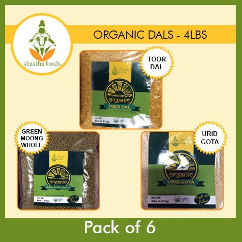 Shastha Organic Dal (Combo Pack of 8) Toor, Masoor & Chana Dals (USDA Certified Organic) Each Pkt 2 Lbs by Shastha Foods