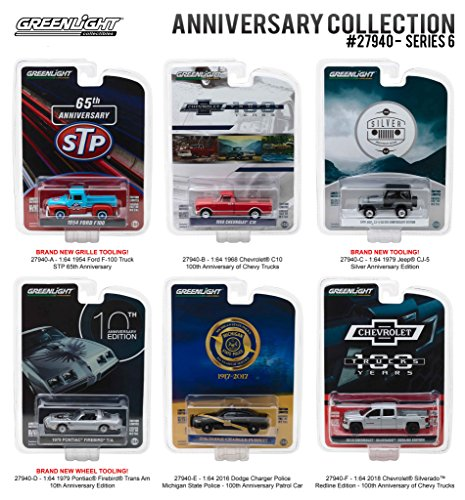 Greenlight Anniversary Collection Series 6, 6pc Diecast Car Set 1/64 Diecast Model Cars by Greenlight 27940