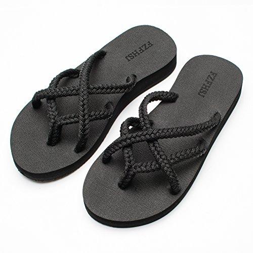 - FZFHSJ Flip-Flops Summer Beach Braided Strap Sandal for Women