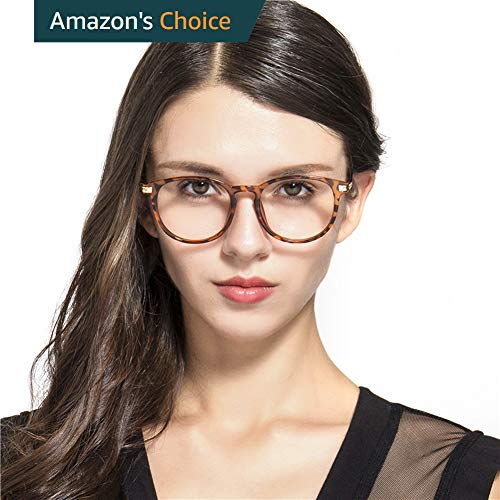 Blue Light Blocking Reading Glasses Round Computer Reading Glasses,Anti Eyestrain/Anti Scratch/Anti Smudgy,Sleep Better for Women/Men UV400 Transparent Lens (Tortoise 0.00,No ()